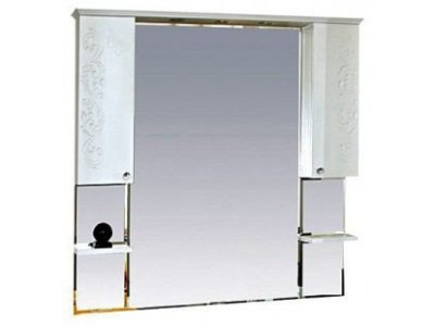 Мебель для ванной Misty Вирджиния (Бабочка) -105 зеркало - шкаф белый фактурный П-Вир02105-012