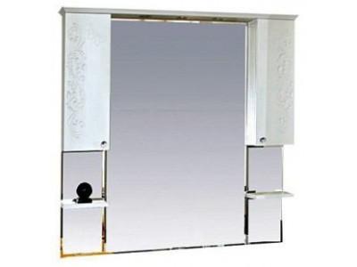 Мебель для ванной Misty Вирджиния (Бабочка) -120 зеркало - шкаф белый фактурный П-Вир02120-012