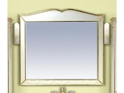 Мебель для ванной Misty Анжелика - 100 Зеркало белое сусальное золото  со светильниками Л-Анж02100-391Св