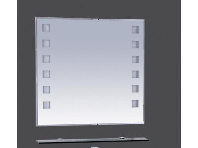 Мебель для ванной Misty Эллада - 75 Зеркало с черной полочкой  (свет) П-Элл03075-44Св