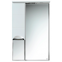 Зеркальный шкаф Misty Петра - 65 Зеркало-шкаф лев.(свет) белая эмаль П-Сел02060-01Л