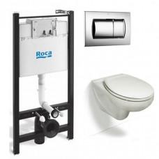 Комплект Roca Victoria 893100000 Инсталляция, кнопка хром, крышка-сиденье микролифт